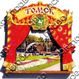Магнит квадратный Занавес с видами Томска