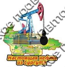 Купить магнит из дерева цветной с каплей нефти Сургут 1