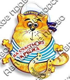 Магнит Котейка на счастье с зеркальной фурнитурой и символикой Крыма