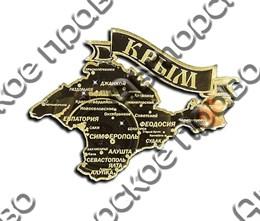Магнит зеркальный Карта вид 1 с символикой Крыма
