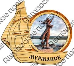 магнит цветной кораблик 2х слойный 01 г.Мурманск