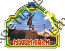 магнит цветной рамка зеленая с якорем г.Мурманск