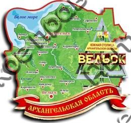 Магнит карта 2-х слойная г.Вельск 1