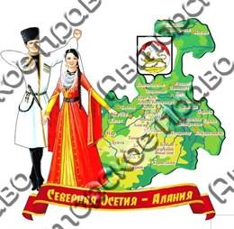 Магнит Карта на лентеСеверная Осетия-Алания
