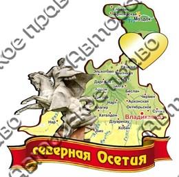 Магнит Карта на ленте с зеркальным сердцем Северная Осетия