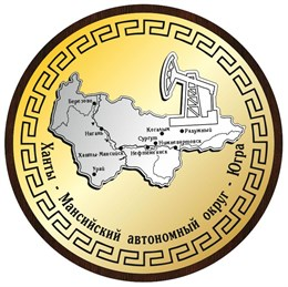 Панно на ножке Карта Вашего региона с нефтекачалкой Ханты-Мансийск