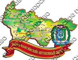 Купить магнит из дерева Карта с лентой и гербом 2 Ханты-Мансийск