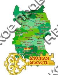 Купить магнитик из дерева Омск Карта области с зеркальным ключиком