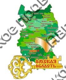 Купить магнитик из дерева Омск карта области с зеркальным лайком и ключиком