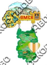 Купить магнитик из дерева Омск карта области качели зеркальное сердечко