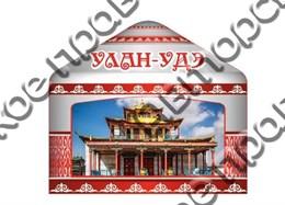 Купить магнитик Из дерева Улан-Удэ юрта с видами города 1