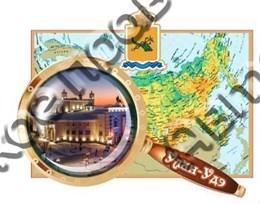 Купить магнитик Из дерева Улан-Удэ карта с лупой и видами города 2