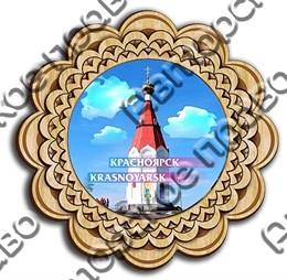 магнит тарелочка 10см вид 3 с символикой Красноярска