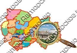 Магнит Карта с лупой и символикой Новосибирска