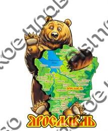 """Магнит цветной""""Медведь обнимает карту """" 2-х слойная г.Ярославль"""