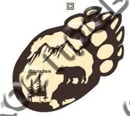 Купить магнитик из дерева Магадан мишка лапа 7