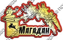 Купить магнитик на холодильник Магадан олени в упряжке с гербом