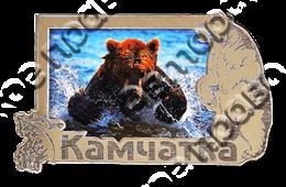 Магнит Медведь 5 с видами Вашего города Прямоугольный зеркальный серебро