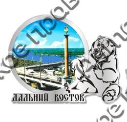 Магнит Медведь 2 с видами Вашего города Круглый зеркальный серебро
