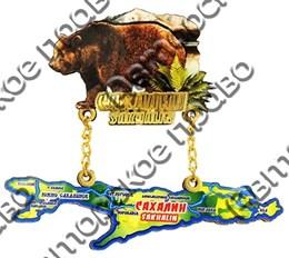 """Магнит качели """"Медведь с картой Сахалина"""" №4"""