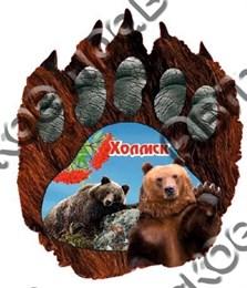 Купить магнитик Холмск медвежий след с мишкой
