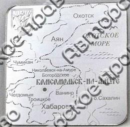 """Магнит зеркальный """"Карта"""" г.Комсомольск-на-Амуре"""