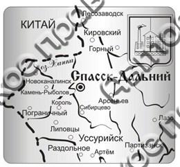 """Магнит зеркальный """"Карта"""" г.Спасск-Дальний"""