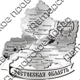 Магнит зеркальный Карта с гербом Ростов на Дону