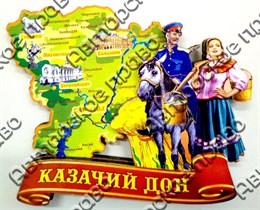 Магнит Карта на ленте Казак и казачка с коромыслом Волгоград