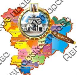 Магнит Карта с лупой 6, Волгоград