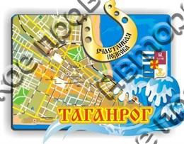 """Магнит """"Карта с зеркальной подковой"""" г.Таганрог 1"""