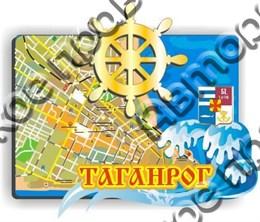 """Магнит """"Карта с зеркальным штурвалом"""" г.Таганрог 1"""