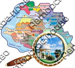 Магнит Карта с лупой с символикой Сочи