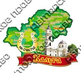 Магнит Карта на ленте №2 с зеркальной подковой г.Калуга
