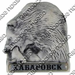 Магнит из мармолита Медведь с рыбой и символикой Вашего города