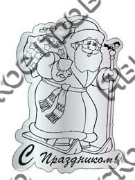 """Магнитик зеркальный """"Дед Мороз с мешком подарков"""" серебро"""