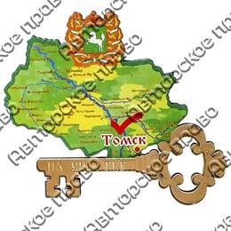 Магнит 1-слойный Карта Вашего с гербовой символикой Вашего города