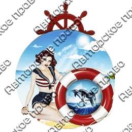 Магнит с подвижной деталью Девушка со спасательным кругом и логотипом города арт 2577