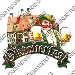 """Магнит 3-хслойный №11 Пивовар с кружками и логотипом """"Oktoberfest"""" артикул 2582"""