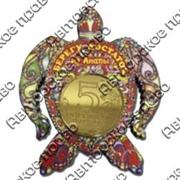 Магнит 1-слойный Черепаха - оберег с зеркальной фурнитурой с символикой Вашего города