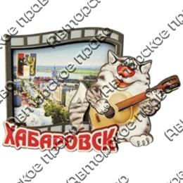 Магнит 2-слойный Слайд с котом и символикой Вашего города
