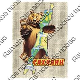 """Магнит на мешковине """"Медведь с картой"""" №2 Сахалин"""