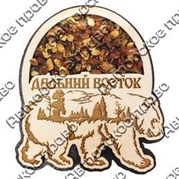 """Магнитик с янтарем """"Медведь"""" №1 с символикой Вашего города"""