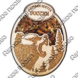 """Магнитик с янтарем """"Рычащий медведь"""" №2 с символикой Вашего города"""