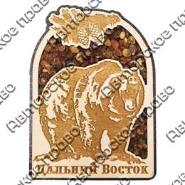 """Магнит с янтарем """"Медведь с еловой веткой"""" с символикой Вашего города"""