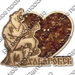 """Магнит с янтарем """"Медведь с балалайкой"""" с символикой Вашего города"""