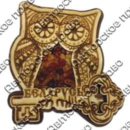 """Магнит с янтарем """"Сова с ключом"""" с символикой Вашего города"""