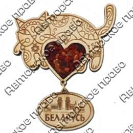 Магнит с янтарем Кот с подвесной деталью с символикой Вашего города