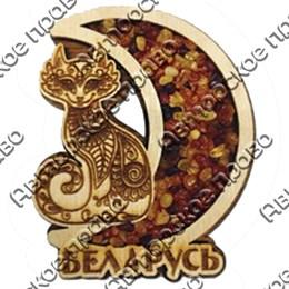 Магнит с янтарем Кошка в месяце с символикой вашего города