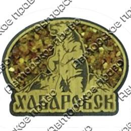 Магнит с янтарем Медведь в овале с символикой Вашего города
